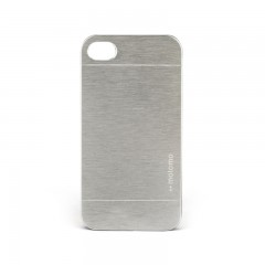 Motomo Apple iPhone 4 - 4S Metal Rubber Deliksiz Kılıf - Chrome