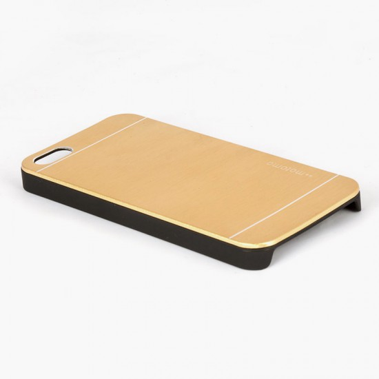 Motomo Apple iPhone 5 - 5S -  SE Metal Rubber Kılıf - Gold