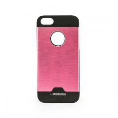 Motomo Round Apple iPhone 5 -  5S - SE Metal Rubber Kılıf - Lila/Mor