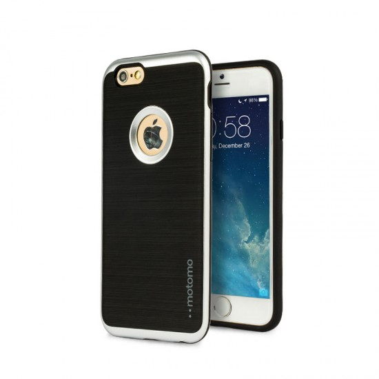 Motomo Apple iPhone 6 - 6S Metalik Kenarlı Silikon Kılıf - Chrome