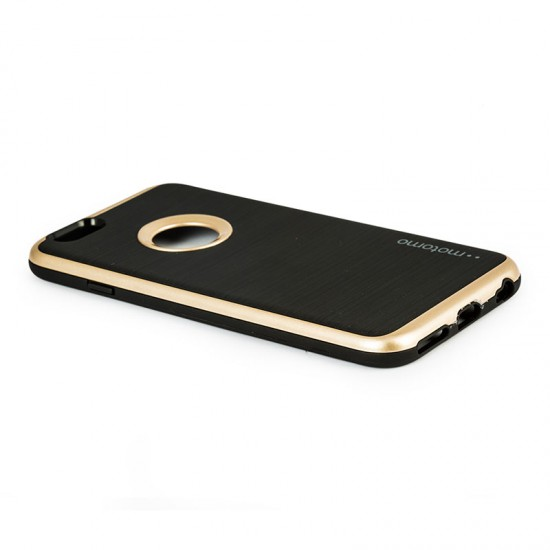 Motomo Apple iPhone 6 - 6S Metalik Kenarlı Silikon Kılıf - Gold