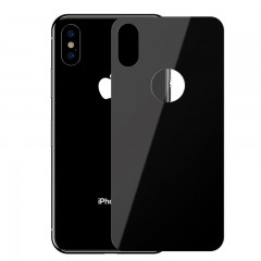 Baseus Apple iPhone XS Max Full Coverage Curved Tempered Glass Rear Protector Arka Gövde Koruyucu - Siyah
