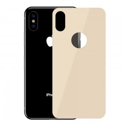 Baseus Apple iPhone XS Max Full Coverage Curved Tempered Glass Rear Protector Arka Gövde Koruyucu - Gold