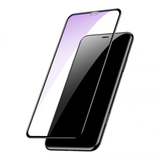 Baseus Apple iPhone XS Max 0.2mm All-Screen Arc-Surface Anti Blue Light Tempered Glass Ekran Koruyucu