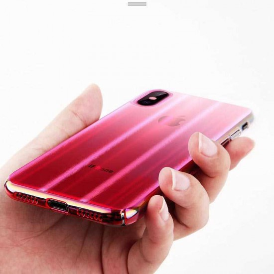 Baseus Apple iPhone XS Max Aurora Case - Transparan Pembe
