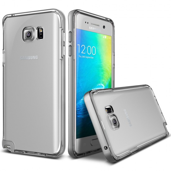 Verus Samsung Galaxy Note 5 Crystal Bumper Kılıf Light Silver
