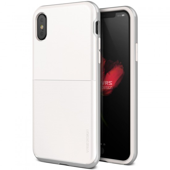 VRS Design iPhone X High Pro Shield S Kılıf White With Satin Silver