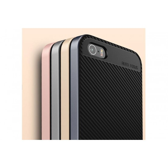 Totu Design iPhone SE / 5 / 5s Gold Kenarlı Carbon Kılıf