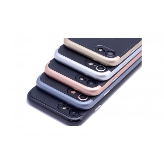 iPhone 7 Silikon Rose Gold Kenar Carbon Kılıf