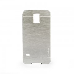 Motomo Samsung Galaxy S5 Metal Rubber Kılıf - Chrome