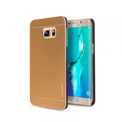 Motomo Samsung Galaxy S6 Edge Plus Metal Rubber Kılıf - Gold